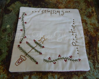 Hand Stitched Primitive Christmas Candle Mat - Winter - Christmas Tree - Christmas In July