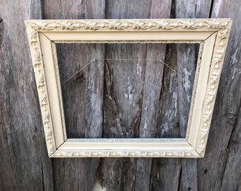 Vintage Ornate Creamy White  Painted Wood and Gesso Picture Frame Farmhouse 16 x 20