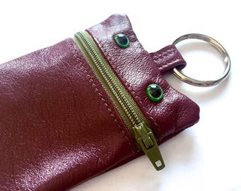Monster Pouch - Recycled Leather Keychain, Change Purse, Wallet, Chocolate brown, wine red
