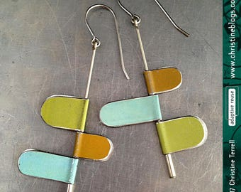 Mod Wayfinding--Upcycled Tin Earrings