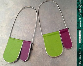 Grape and Grass--Upcycled Tin Earrings