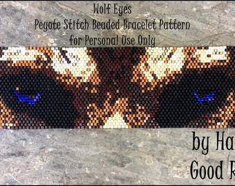 NEW Bead Pattern Wolf Eyes Beaded Bracelet peyote stitch or loomwork tutorial instructions