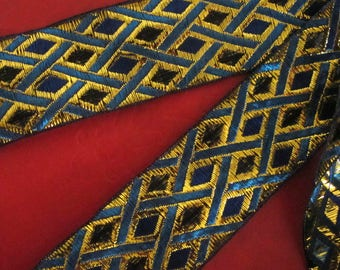 3 yards  PHINEAS Jacquard trim with Turquoise and  metallic gold cross hatching and Blue and Black diamonds. 1 1/2 inch wide. 2060-C