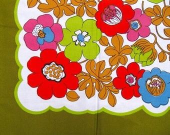 original 70s kitchen tablecloth (green) ±90x90cm