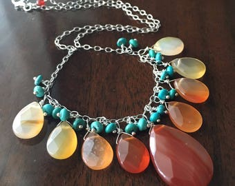 Carnelian Briolette and Turquoise Necklace...Ready to Ship...Free Shipping