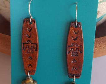 Thunderbird Earrings - Tooled Leather -  Turquoise Cross -Sterling Silver - Cowgirl Jewelry - Leather Earrings by Heart of a Cowgirl