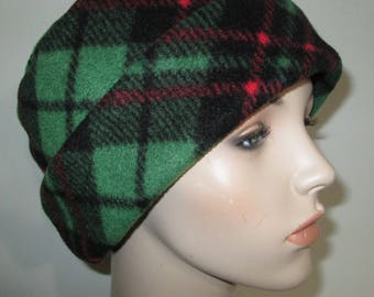 Green Red Plaid  Anti Pill Fleece Pillbox Hat, Winter Hat, Cancer, Chemo Hat,
