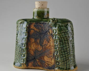 Stoneware Whisky Flask Decanter Leaves and Frog