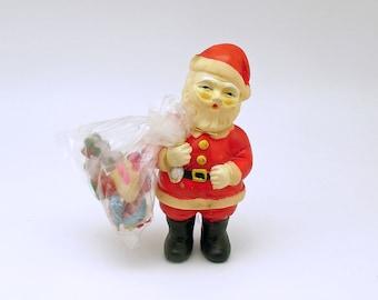 Vintage Christmas Decoration Santa Figurine Bag Celluloid Toys