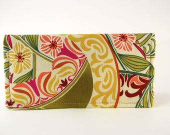 Fabric Checkbook Cover, Receipt or Cash Wallet, Checkbook Holder, Women's Wallet, Green and Red print