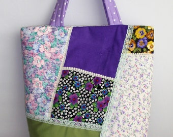 """Quilted Tote Bag . Handmade.Crazy Quilt design.Unique slip  pocket on outside, 6 inside , Purple Theme H 15 """" X W 17 """" X D"""" 6 """""""
