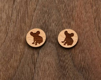 8 pcs Koala Wood Charm, Carved, Engraved, Earring Supplies, Cabochons (WC 315 )