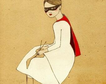 Sale Superhero Girl art print of original drawing