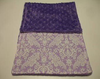 Lavender Damask Baby Burp Cloth with Minky 9 X 21 READY TO SHIP