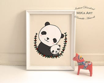 Nursery Decor Printable Nursery Wall Art Panda Mom Baby Animal Nursery Cute Panda Illustration Print Children's Room Wall Decor Panda Bear