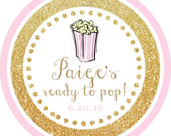 DIY Printable File- Ready to Pop! Gold Glitter Pink Popcorn Thank You Stickers, Tags, Labels- Avery Label 22807