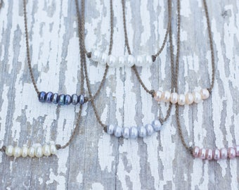 bohemian necklace / freshwater pearls / handspun ROPE / waterproof / kid-proof / life-proof / bohemian / minimalist beauty / tula blue
