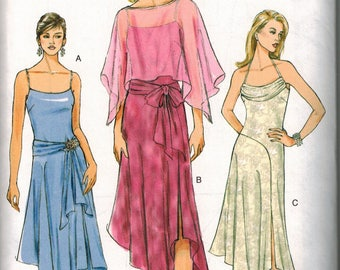 Vogue 8029 Sewing Pattern Sizes 6-8-10 Evening Gown GORGEOUS Plunge neckline and waistline swag and poncho