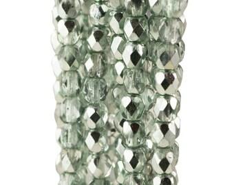 Firepolish Czech Faceted Light Ocean Green Glass Beads 4mm (50)
