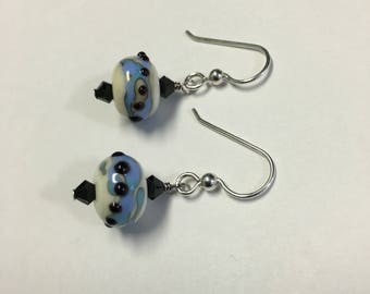 Winter Lake Lampwork Earrings