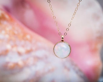 Stone of Creativity Necklace | 14k 10mm Opal Necklace | 14k gold and Opal Stone Necklace