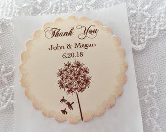 Dandelion Stickers, Dandelion Labels, Dandelion Wedding Stickers, Dandelion Favor Stickers, Set of 10