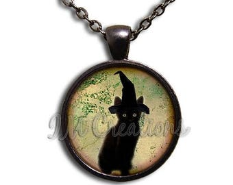 20% OFF - Black Cat Witch Hat Glass Dome Pendant or with Chain Link Necklace AN157