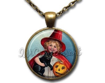 25% OFF - Halloween Vintage Little Witch Black Cat Glass Dome Pendant or with Chain Link Necklace HD140