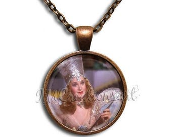 20% OFF - Wizard of Oz Glinda the Good Witch- Round Glass Dome Pendant or with Necklace by IMCreations -  WZ103
