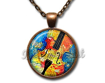 Music Lover Colorful Cello Glass Dome Pendant or with Chain Link Necklace PR115