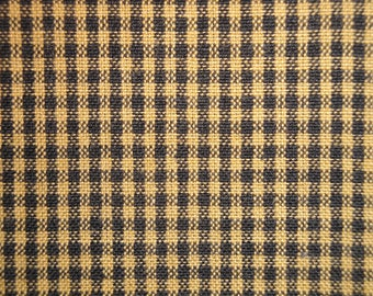Small Check Homespun Fabric | Mustard And Black Woven Mini Check Fabric | Fall Fabric | Cotton Rag Quilt Fabric | Primitive Fabric