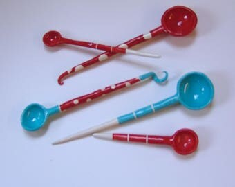 Bright Red & Turquoise pottery Serving Spoons, set of 5, colorful polka-dots and stripes whimsical ceramic Hostess Gift