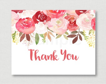 Fall Rose Floral Baby Shower Thank You Card / Floral Baby Shower / Rose Floral / Red Floral / Watercolor / Printable Instant Download A185