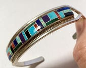Native American Inlaid Coral Lapis Turquoise Cuff Bracelet Vintage