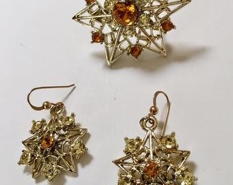 Star Motif Topaz Rhinestone Brooch and Earrings Vintage