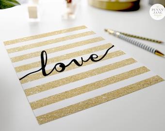 Love Art print -  Gold Glitter Love Printable Digital Art Typography Wedding Nursery Wall Decor Art Gold Glitter Love Artwork Office Decor