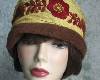 Womens Hat Linen Cotton Fabric With Brown Fleece Band And Rust Brown Embroidered Flower Trim Chemo Hair Loss Cap  Head Sz 21- 23