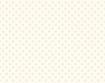 ON SALE Cream Small Dots on Cream  - 1/2 Yard