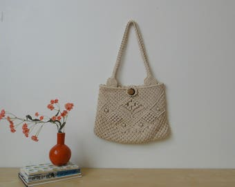Vintage Crochet Purse with Wooden Button