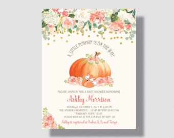 PUMPKIN BABY SHOWER Invitation   Autumn Baby Shower Pumpkin Invitation   Fox Baby Shower Invitation   Shabby Chic Fall Woodland Baby Shower