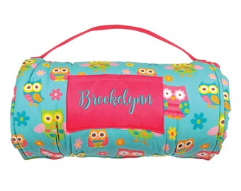 Owls Nap Mat Personalized Girl Daycare Preschool Monogrammed Toddler