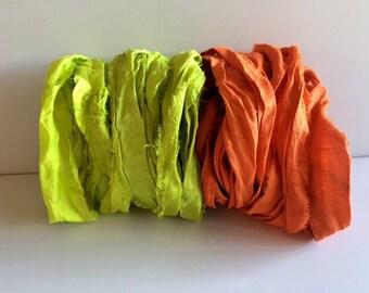 Silk Sari Ribbon-Recycled Lemon Lime & Orange Sari Ribbon-10 Yards