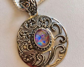 Opal Pendant-Bali Silver Pendant With Opal and Quartz Crystal
