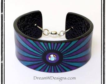 Crystal Cuff Bracelet, Flower Petals Bracelet, Purple Teal Blue Black Bracelet, Polymer Clay Jewelry, Polymer Clay Bracelet, Unique Jewelry
