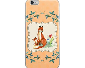Mother & Baby Fox Cell Phone iPhone Case 6 Plus, 6/6s, 7 Plus, 8 Plus 7/8, X Foxes Woodland Creature