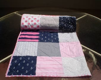 Baby Quilt, Nautical Baby quilt, baby girl quilt, patchwork crib bedding, navy, hot pink,pink, grey, anchors, waves, toddler, Nautical  Lass