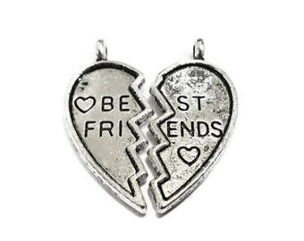 """4 Sets (8 charms) Puzzle Piece Heart """"Best Friend"""" Charms 11x25x2mm & 11.5x25x2mm Hole: Approx. 2mm"""