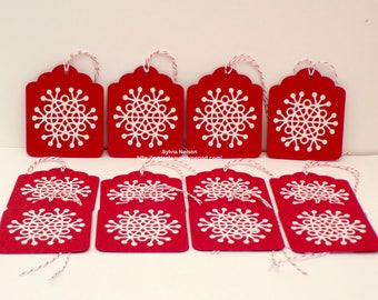 Beautiful Snowflake Tags...12 Red with diecut glitter cs Tags...hang tags...gift tags...Christmas gift tags...Birthday tags...hand stamped!