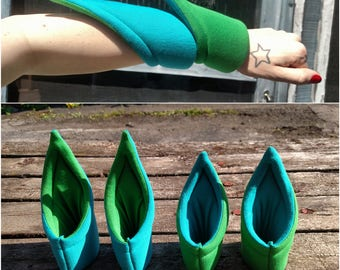 LS-SEVEN. Blue/Green Medium + Long Spiky Puff Cuffs. Futuristic Bracelet.