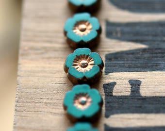 NEW! Love Spell - Premium Czech Glass Beads, Opaque Turquoise Green, Metallic Bronze Finish, Small Hibiscus Flowers 9mm - Pc 10